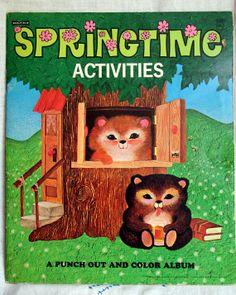 Vintage Saalfield ''Springtime Activities'' coloring book, 1974