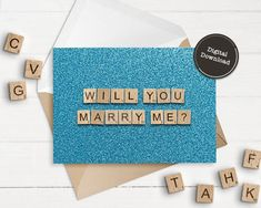 Will You Marry Me Digital Download 5X7 Blue Printable | Etsy Printable Christmas Cards, Merry Christmas Card, Green Christmas, Printable Cards, Christmas Greeting Cards, 65th Birthday Cards, Happy Birthday Printable, Scrabble Tile Art, Scrabble Words