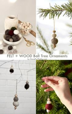 These easy ornaments are perfect for modern Christmas decor and combine the elements of Farmhouse and Scandinavian decor. You can even add some essential oils to the felt balls to make your room smell like a forest! They are simple and you don't even need a traditional tree to display them - any branches will work. #simpleholidaydecor Scandinavian Holidays, Scandinavian Christmas Decorations, Modern Christmas Decor, Homemade Christmas Decorations, Christmas Living Rooms, Holiday Decor, Easy Ornaments, Farmhouse Christmas Ornaments, Christmas Time