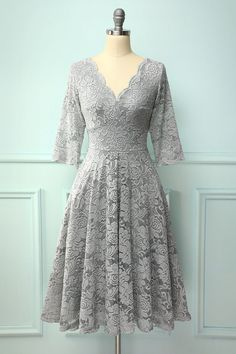Zapaka Grey V Neck A Line Floral Flower Lace Formal Party Dress With Sleeves Dress Brukat, Tulle Prom Dress, Prom Party Dresses, Gray Dress, The Dress, Evening Dresses, Gray Formal Dress, Crepe Dress, Party Dresses With Sleeves