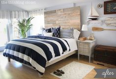 Nautical Master Bedroom Makeover & How We Found Our Shared Style Love headboard and decorative wall