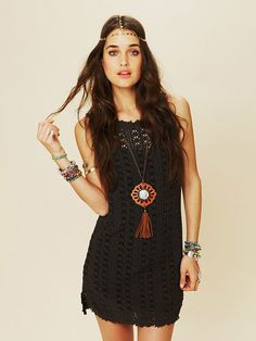 We absolutely fell in love with this entire look, but the piece that ties it all together is this crochet mini dress that we're seriously coveting. Free People Thrifty Eyes Dress in Black, $78, freepeople.com.   - Cosmopolitan.com