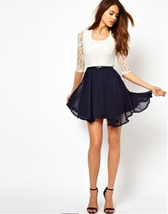 Spell color sleeve Lace Chiffon Skirt waist slim dress