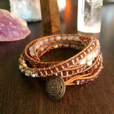 Angelite & Moss Agate Wrap Bracelet