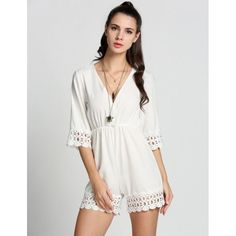 Fashion Women V-Neck 3/4 Sleeve Lace Patchwork Casual Jumpsuit Playsuit
