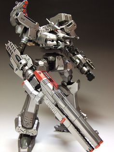 アーマードコア・ACクレスト CR-C90U3 【ぷらもっち】 Mecha Suit, Armored Core, Futuristic Armour, Gunpla Custom, Transformers Toys, Gundam Model, Red Accents, Plastic Models, Weapon