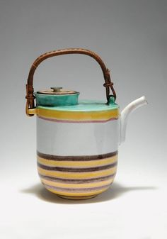 Theodor Bogler, Teapot, 1930. Made by Velten-Vordamm, Germany. Earthenware.  Bogler did study at the Bauhaus, completed an apprenticeship as a potter, directed the Velten workshop near Berlin and entered the Benedictine Maria Laach Abbey, where he was ordained as a priest in 1932.