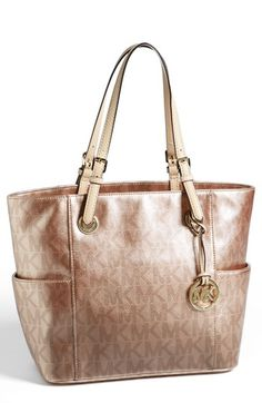 MICHAEL Michael Kors 'Jet Set - Metallic Signature' Tote | Nordstrom --- I WANT IT SO INCREDIBLY BAD