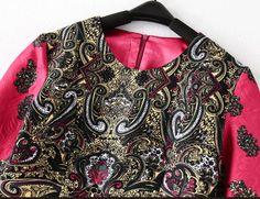 Robe en jacquard motif fleuri col rond -magenta Jacquard Dress, Dress P, Magenta, Red Roses, Blouse, Floral, Fashion, Round Collar, Pattern