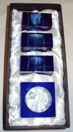 Oleg Cassini Designer Colbolt Blue Crystal Napkin Rings Set 4 in Box Etched  Sold $21.24
