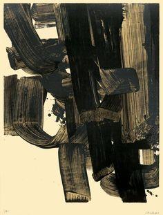 "PierreSoulages  ""Lithographie No. 20A""  1969  Colour lithograph on Arches wove paper"