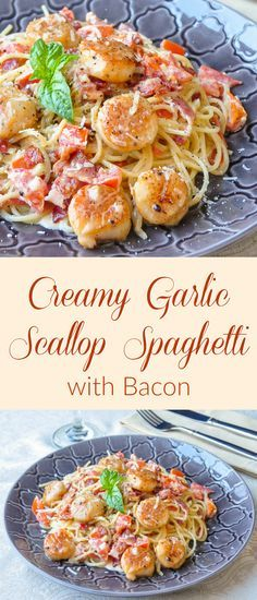 Creamy Garlic Scallop Spaghetti with Bacon - ready in well under 30 minutes, this in one quick & easy meal that's sure to impress. It easily adapts to serve just two as well, making it an ideal choice(Spaghetti Recipes For Two) Fish Recipes, Seafood Recipes, Pasta Recipes, Great Recipes, Cooking Recipes, Favorite Recipes, Healthy Recipes, Cooking With Bacon, Recipies