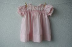 Vintage Baby Clothes  Pink Smocked Dress with Lace by NellsNiche, $18.00