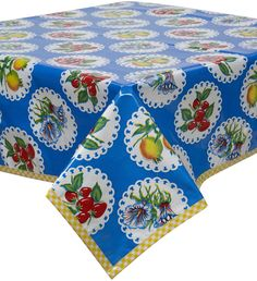 Doily 2 Blue Oilcloth Tablecloth with Yellow Gingham Trim You Pick the Size