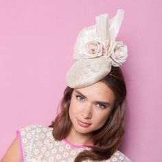 Gina Foster Millinery - Clover - Small Cocktail Hat with Rose & Bow