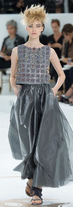 CHANEL ~ Pewter and silver metallics trending at Chanel Fall 2014