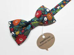 Navy Floral Bow Tie - Men's Pre-Tied Bow Tie - Floral Bow Tie - Navy Bow Tie - Red Floral Bow Tie - 10% off with promo code PIN10 - #popARTicles #woodlandbowtie #forestbowtie #floralbowtie