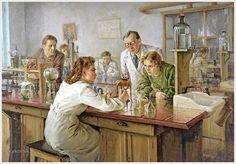 Ульянов Николай Иванович (Россия, 1922 - 1990) «Выполнение тестов в лаборатории» 1951