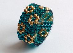 Teal Gold Toho Bead Ring