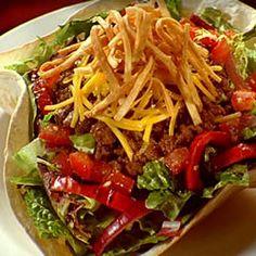 Taco Salad III Allrecipes.com  Just had this Taco Salad, AMAZING. you need to make it! And it tastes really good with Renees Yogurt garlic salad dressing!!!! MMMMM