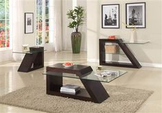 Jensen Contemporary Espresso Wood Glass End Table