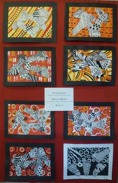 Corroboree  Working with line, pattern & movement  Mixed Media created after studies of Australian Aboriginal artwork Year 3