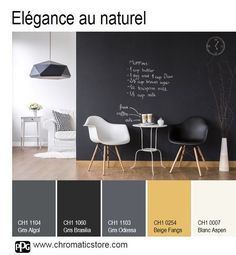 Pro Space 302 Structure the space with elegance by painting a black wall and warm up the atmosphere with honey parquet.chromaticstor … Deco # Source by breizhemma Colour Pallete, Colour Schemes, Home Interior, Interior Design, Living Room Color Schemes, Deco Design, Black Walls, Bedroom Colors, House Colors