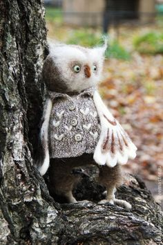 Gentleman owl. Love the the personality and detail of this wool needle felted animal!