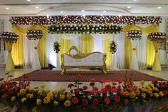 Bhagwat Banquets – Wedding Hall In Patna - Carla's Decoration Ideas Reception Stage Decor, Wedding Backdrop Design, Wedding Stage Design, Wedding Reception Backdrop, Wedding Ceremony, Wedding Mandap, Engagement Stage Decoration, Wedding Hall Decorations, Marriage Decoration