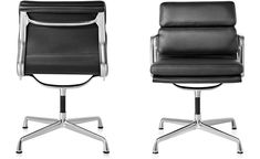 Eames Soft Pad Group Side Chair for Herman Miller. An extension of the Aluminum Group chairs designed in 1958 for the Irwin Miller home, the Soft Pad Group repeats the structure of the earlier chairs, adding cushions to the seat and back.