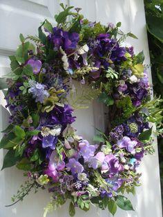 Summer wreath, front door wreath, door wreath, wreath, purple wreath, outdoor wreath on Etsy, $79.00
