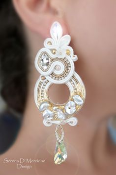 Soutache earring with materic effect, pearls, swarovski - by Serena Di Mercione