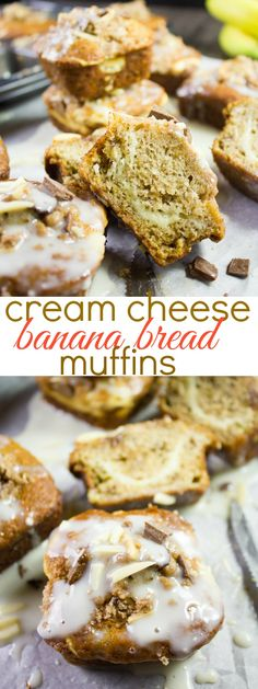 What could be better than a batch of oven-warm banana bread muffins? Maybe a bat… What could be better than a batch of oven-warm banana bread muffins? Maybe a batch of banana bread muffins with a rich and tangy cream cheese swirl and icing on top? Best Breakfast Recipes, Brunch Recipes, Great Recipes, Dessert Recipes, Delicious Recipes, Easy Recipes, Healthy Recipes, Donut Recipes, Muffin Recipes