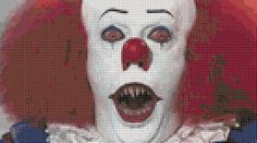 Stephen King's It - Pennywise The Clown (35 Colors) Cross Stitch Pattern