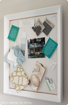 Turn an Old Frame into a Fabric Message Board {RH Inspired}