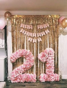 White and pink tissue hot glued to card board cutouts. Perfect for a birthday backdrop or photo booth prop! Originalidad 3 Pack ft x ft Metallic Gold Foil Fringe Shiny Curtains Party Prom Birthday Wedding Party Christmas Decorations -- To view further fo 22nd Birthday, Birthday Diy, Birthday Photos, Diy 21st Birthday Party Ideas, 18th Birthday Decor, Happy Birthday, Birthday Beer, Birthday Cake, Adult Birthday Party