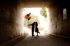 Couple with colorful balloons -- Cute engagement photoshoot idea. Themed Engagement Photos, Engagement Couple, Engagement Pictures, Engagement Shoots, Wedding Pictures, Romantic Pictures, Romantic Quotes, Wedding Ideas, Image Couple