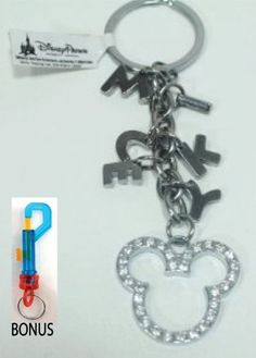 Disney Parks Mickey Ears & Lettered Charm Rhinestone Keychain (comes sealed) - Disney Parks Exclusive & Limited Availability