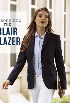 white jeans + blue striped oxford cloth button down + navy blazer