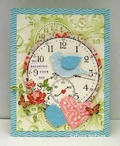 Wonderful embossing and layers at work on this charming springtime card. #scrapbooking #cards #handmade #card #bird #shabby #chic #paper #crafting #crafts #embossing #clock