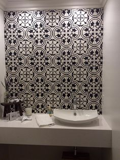 See how our Traditional Bayahibe C Polished Cement #Tile made this small #bathroom shine! http://ht.ly/LoPOj