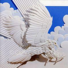 Paper sculpture artist, cat paper sculpture and pink flamingo sculpture : Clive Stevens Sculpture