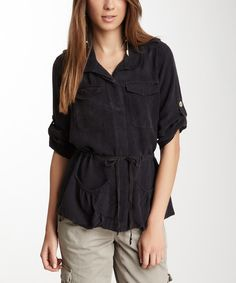 Look at this Black Drawstring Silk Jacket on #zulily today!