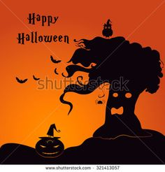 Halloween party invitation card. Tree-ghost with owl, spider, pumpkin in night. Vector illustration.