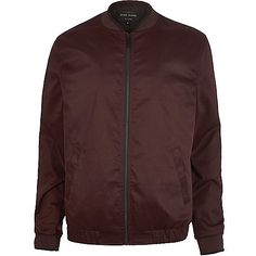 Burgundy Bomber Jacket by River Island Burgundy Bomber Jacket, Bomber Jacket Outfit, Mens Winter Coat, Men's Coats And Jackets, Coats For Women, Street Wear, River Island, Men's Outerwear, Clothes
