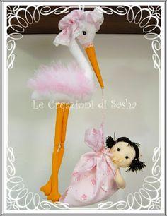 Le Creazioni di Sasha: Fiocco di nascita, cicogna con bambina