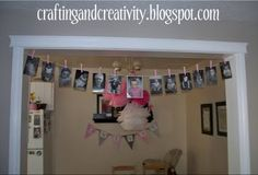 1st birthday party idea- banner with a photo from each month of child's first year