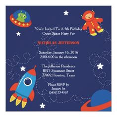 5x5 Outer Space Birthday Party Invitation