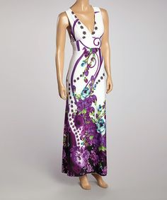 Purple & White Floral Halter Maxi Dress
