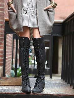 Over the knee lace-up boots.